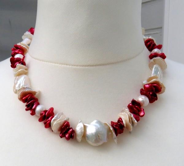 Keshi Perlen Collier Süßwasser Perlen Unikat Kette handgefertigt 4457