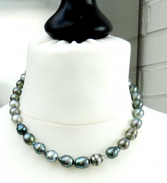 Tahiti Perlen Kette Unikat Perlen Kette Tahiti Perlen Collier 8-10,2 mm 4740