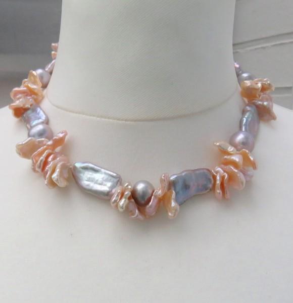 Keshi Perlen Collier Süßwasser Perlen Kette Unikat handgefertigt 4753