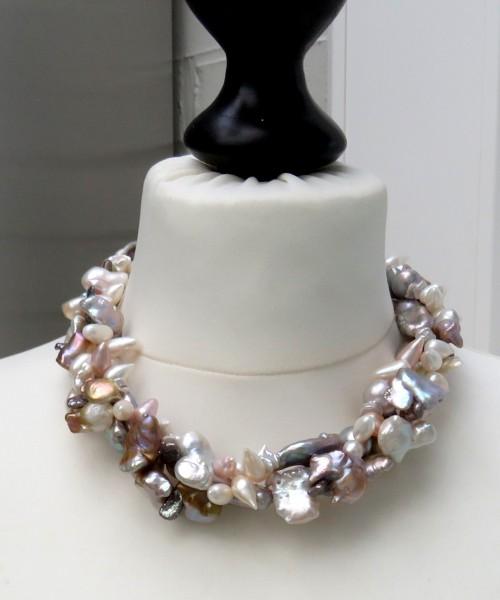 Süßwasser Perlen Keshi Collier Unikat Perlen Collier handgefertigt 3-reihig 4655