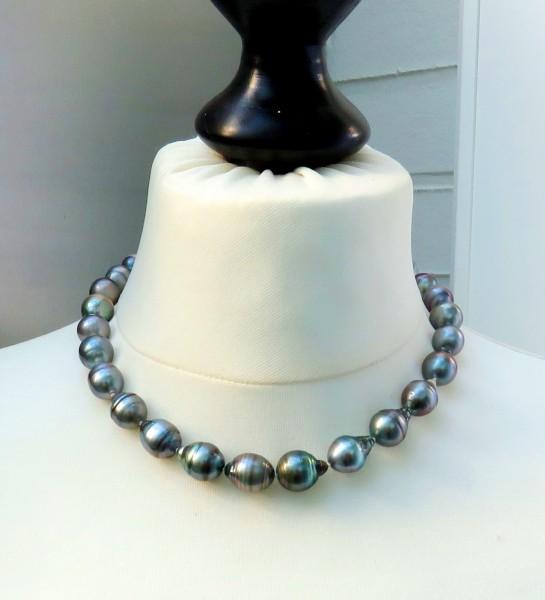 Tahiti Perlen Kette Unikat Perlen Kette Tahiti Perlen Collier 11,2-12,7 mm 4637 SCHNÄPPCHEN