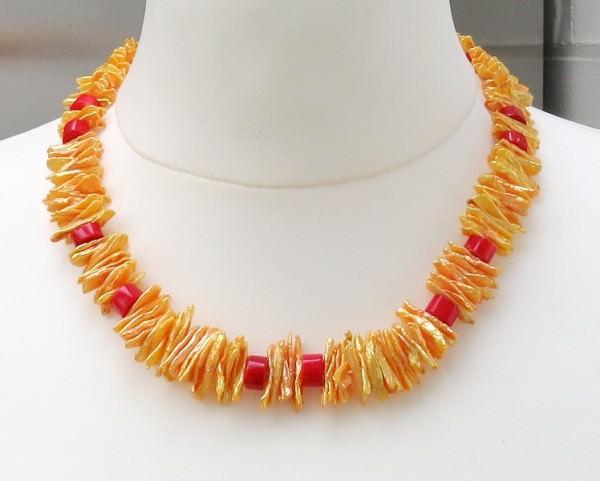 Süßwasser Drachenzahn Perlenkette mit Koralle handgefertigtes Unikat 4178