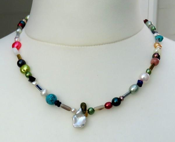 Perlenkette mit Edelsteinen Unikat 4412