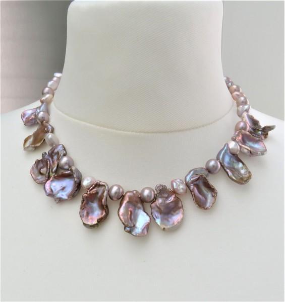 Keshi Perlen Collier Süßwasser Perlen Kette Perlen Kette Unikat 4867