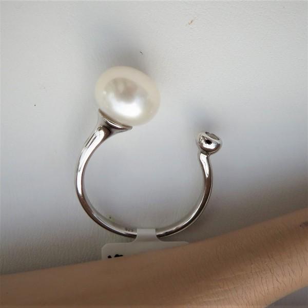 Perlen Ring Silber Ring Süßwasser Perle Ring Bouton Perle handgefertigt 4761
