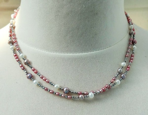 Süßwasserperlen Hämatit Unikat Kette zweireihig Halskette Perlenkette 3604