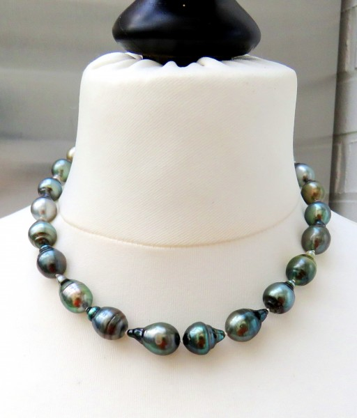 Tahiti Perlen Kette Unikat Perlen Kette Tahiti Perlen Collier 10,5-12 mm 4718