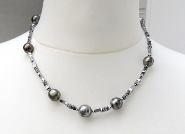 Tahiti Perlen Hämatit Kette Unikat Edelstein Kette Perlen Kette 4239