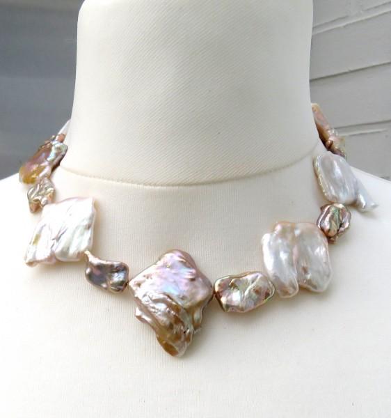 Süßwasser Perlen Collier Coin Perlen Biwa Perlen Unikat Kette handgefertigt 4631