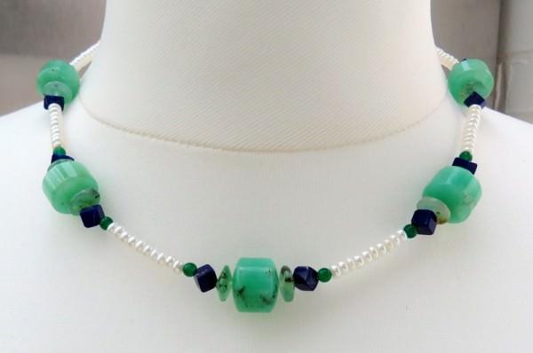 Süsswasserperlen Chrysopras Lapis Lazuli Kette