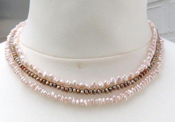 Süßwasserperlen Kette dreireihig Perlen Kette Perlen Collier 3945