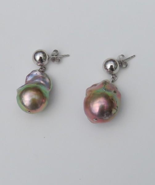 Süßwasser Perlen Ohrringe Ming Perlen Unikate handgefertigt 15,8-16,5 mm 4583