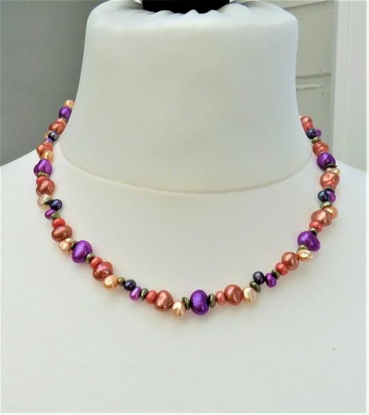 Süßwasserperlen Kette Perlenkette Unikat Perlen Kette handgefertigt 4904