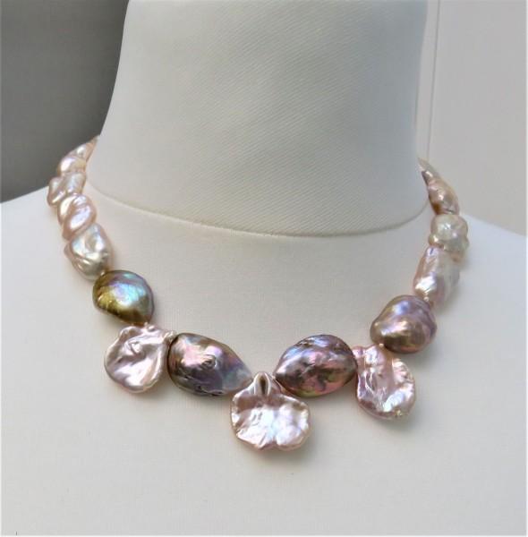 Keshi Perlen Biwa Perlen Kette Perlen Collier Süßwasserperlen Unikat Kette 4868