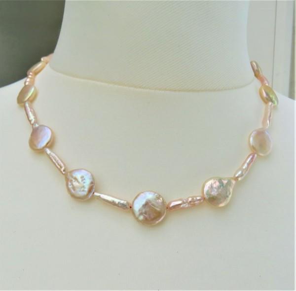 Biwa Perlen Coin Perlen Unikat Kette Perlen Kette Süßwasserperlen Collier 4886