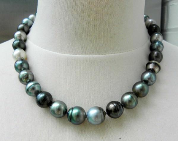Tahitiperlen Unikat Collier AA rundlich Perlenkette Kette 11,1 bis 13 mm 2615