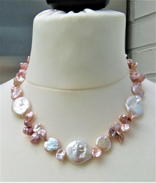 Keshi Perlen Collier Coin Perlen Kette Naturfarben Unikat Perlen Collier 4811
