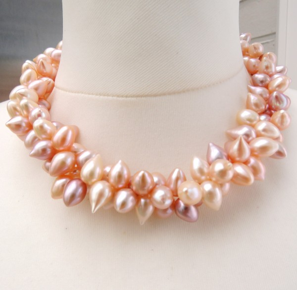 Perlen Kette Süßwasser Tropfen Perlen naturfarben zweireihig handgefertigt 4747