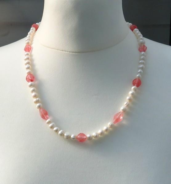 Süßwasserperlen Cherry Quarz Kette Unikat Perlen Edelstein Kette 4324 A