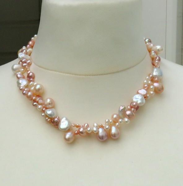 Süßwasser Perlen Kette zweireihige Perlen Unikat Kette Keshi Perlen Kette 4622