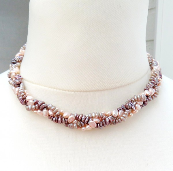 Süßwasser Perlen Kette Zopf Collier Unikat Perlen Kette handgefertigt 4539