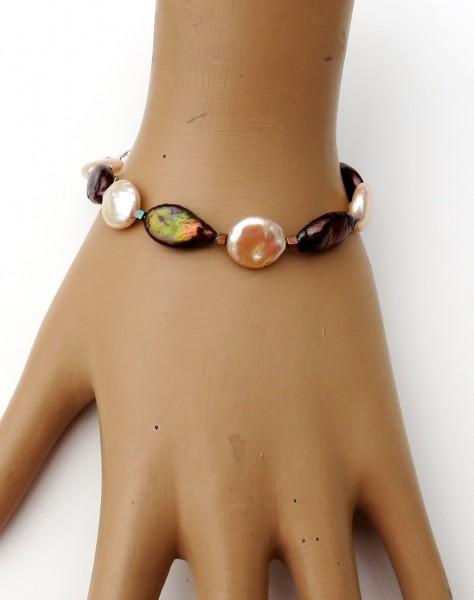 Süßwasser Perlen Armband Coin Perlen Unikat Armband handgefertigt 4683