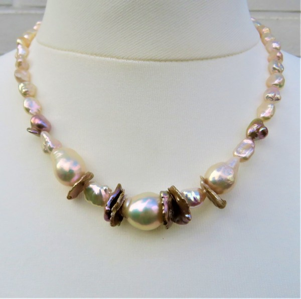 Ming Perlen Keshi Perlen Collier naturfarben Süßwasserperlen Kette Unikat 4854