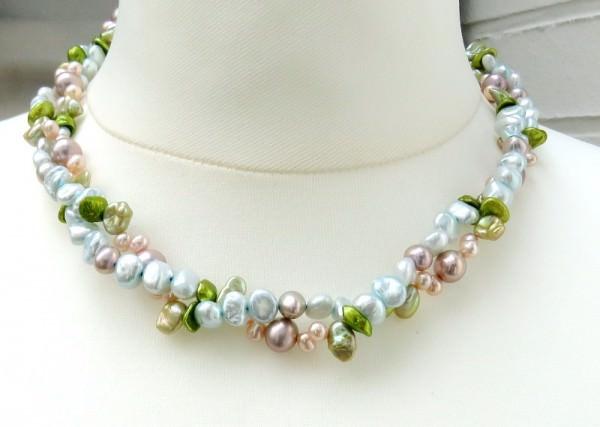 Süsswasserperlen Kette Perlen Collier Keshi Perlen Kette Halskette 4109