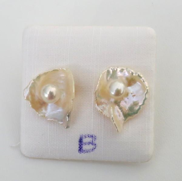 Süßwasser Perlen Keshi Perlen Ohrstecker Unikat Perlen Ohrstecker B4448