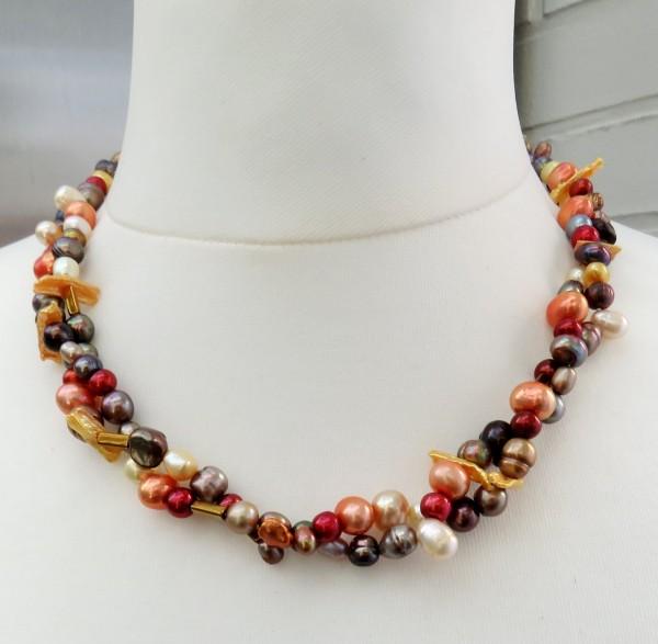 Süßwasser Perlen Kette zweireihig handgefertigt Perlen Unikat Collier 4692