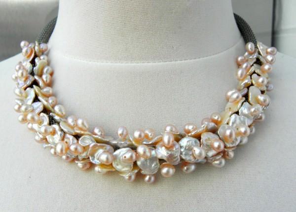 Süßwasserperlen Edelstahl Unikat Collier Halsschmuck Perlenkette Kette 3327
