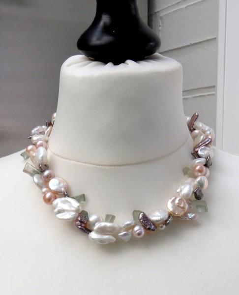 Süßwasser Perlen Prasiolit Collier Coin Perlen Keshi Edelstein Unikat Kette 4647