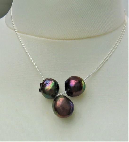 Ming Perlen Stahlseil Knopfloch Collier handgefertigt Unikat Perlen Collier 4816