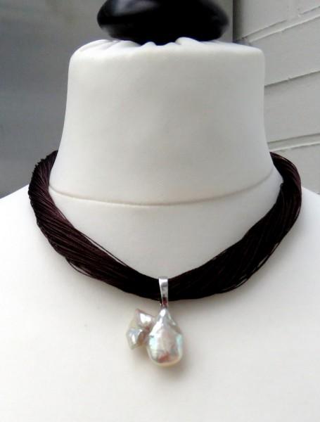 Perlen Anhänger Seiden Collier Unikat Süßwasser Perlen Anhänger Varioclip 4696
