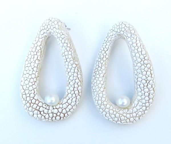 Rochenleder Ohrringe mit Süßwasserperlen Unikat Ohrringe 4407