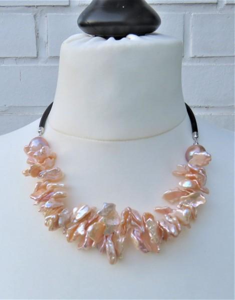Perlen Kette Keshi Ming Perlen Unikat Collier Keshi Kautschuk Collier 4808