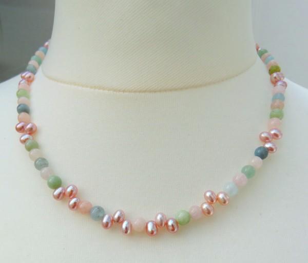 Perlen Edelstein Kette Beryll Unikat Kette Tropfen Perlen Naturfarben 4352