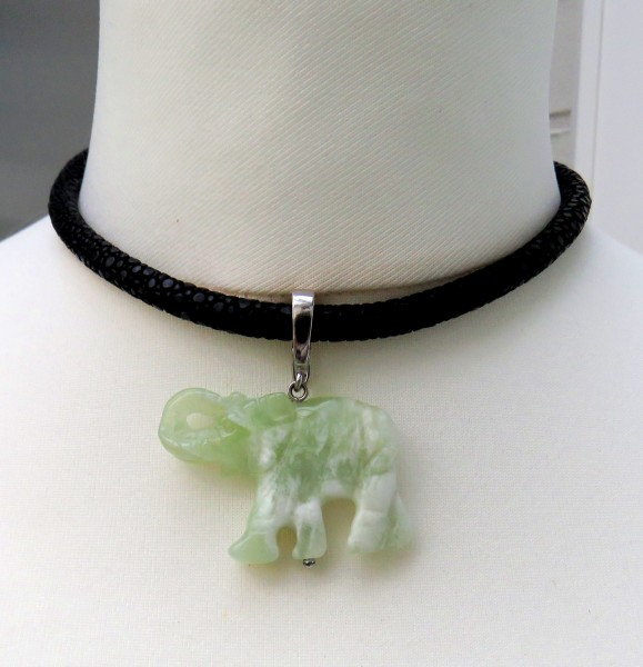 Edelstein Anhänger Jade Anhänger Elefant Anhänger Silber Chinesischer Jade 4543