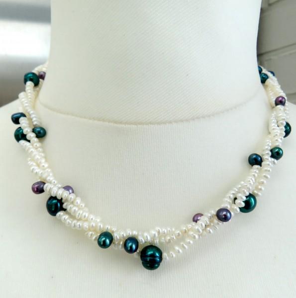 Perlen Kette Süßwasser Perlen Kette handgefertigt Unikat Perlen Kette 4755