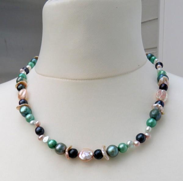 Perlen Kette Süßwasser Perlen Keshi Kette Unikat Perlen Kette Akoya Perlen 4494