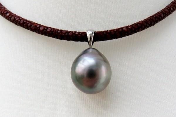 Tahiti Perlen Anhänger Unikat Perlen Anhänger 16,5 mm Sterlingsilberöse 4262