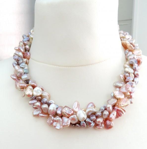 Keshi Perlen Collier Unikat Perlen Kette Süßwasser Perlen Kette 4-reihig 4764
