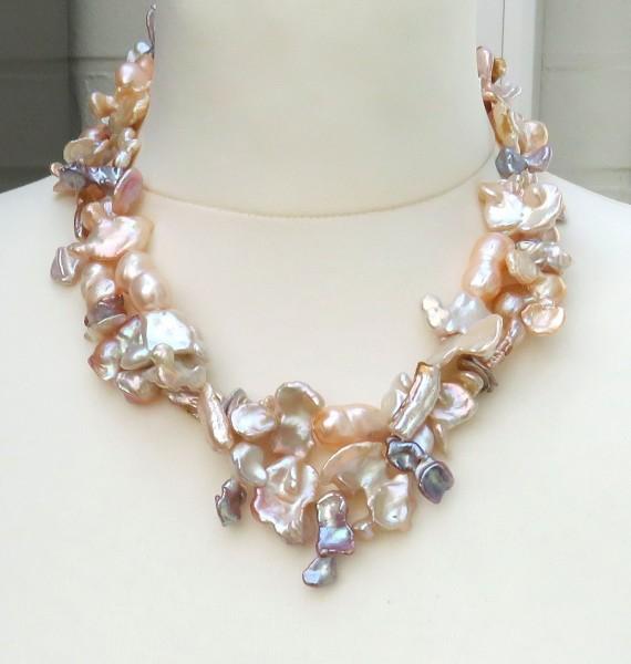 Süßwasserperlen Collier Unikat Collier Perlen Kette Naturfarben 4403