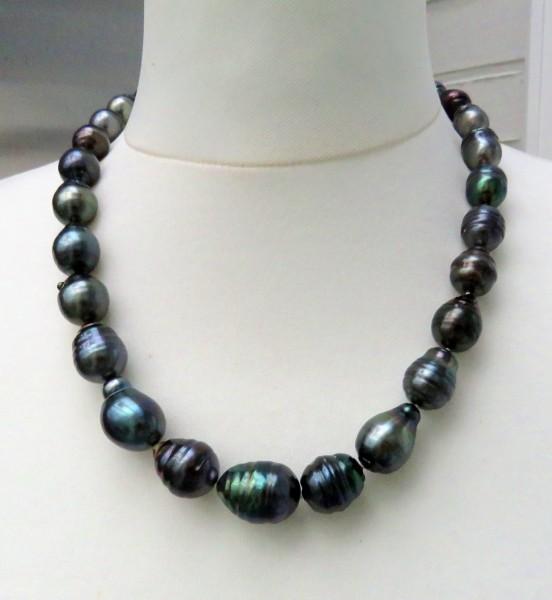 Tahiti Perlen Kette Unikat Perlen Kette Tahiti Perlen Collier 11-14,5 mm 4733