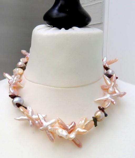 Ming Perlen Collier Süßwasser Perlen Collier Keshi Perlen Unikat Collier 4725