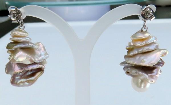 Süsswasser Keshi Perlen Ohrringe mit Sterlingsilber Steckern