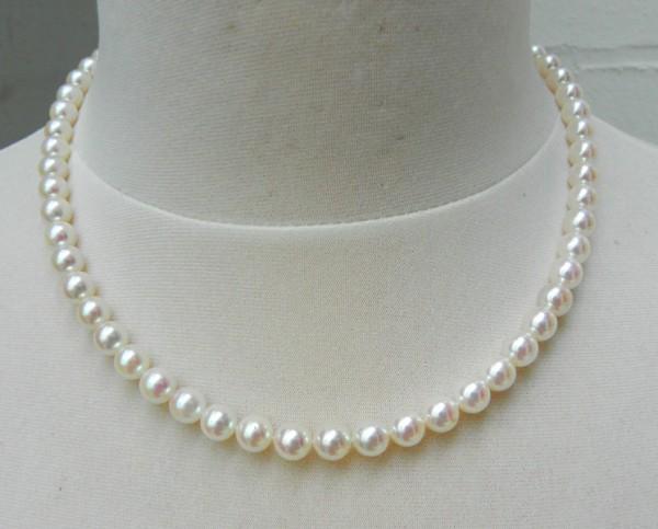 Akoyaperlen Kette 6,5 - 7 mm AAA Halskette Collier Halsschmuck 4290
