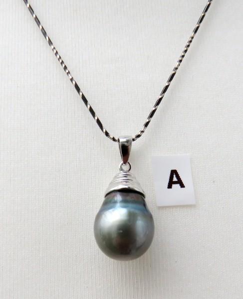 Tahiti Perlen Anhänger Perlen Unikat Anhänger Tahitiperlen Silberketten 4709 A-F