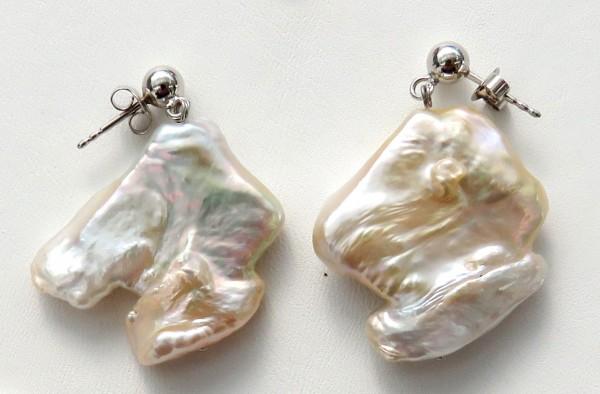 Perlen Ohrringe Süßwasser Coin Perlen Unikat Ohrringe Silber handgefertigt 4753