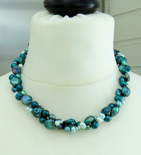 Perlen Kette Süßwasser Keshi Perlen Kette handgefertigt Unikat Perlen Kette 4756